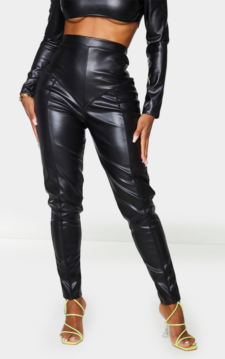 Shape Black PU High Waist Panelled Leggings 2