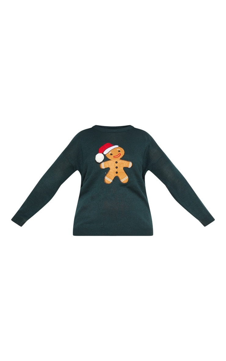 Plus Forest Green Gingerbread Man Jumper  3