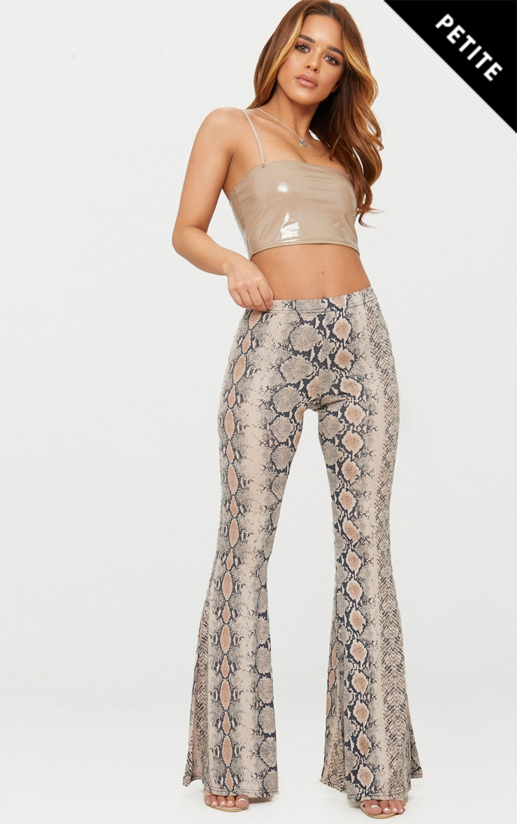Petite Stone Snake Print Flared Trousers 1