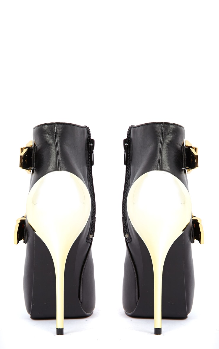 Brooklyn Black PU Ankle Boots With Gold Metallic Buckles &  3