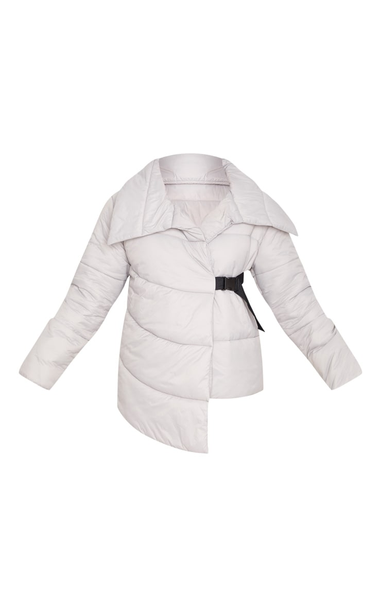 Grey Side Buckle Puffer Jacket 4