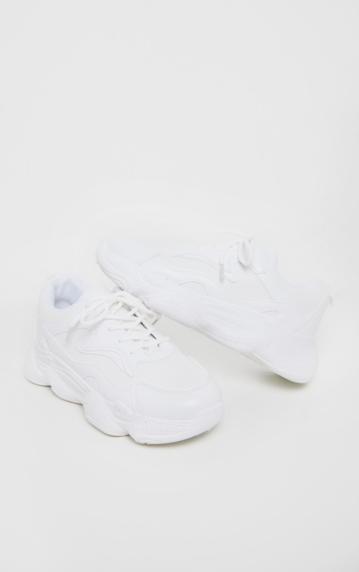 White Bubble Sole Lace Up Sneakers 3
