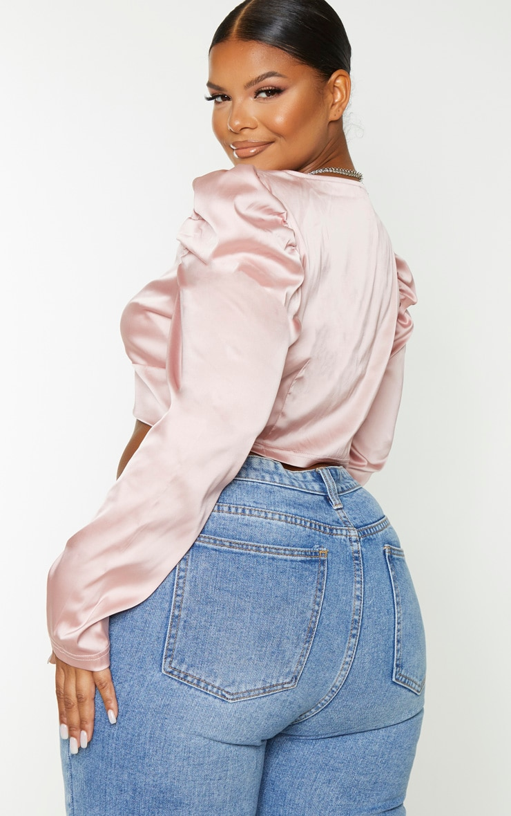 Plus Blush Satin Bow Front Puff Sleeve Crop Top 2