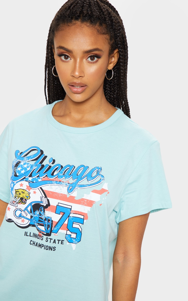 Teal Chicago Slogan Oversized Washed T Shirt Dress 5
