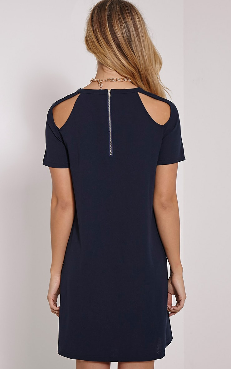 Sandie Navy Cold Shoulder Shift Dress 2