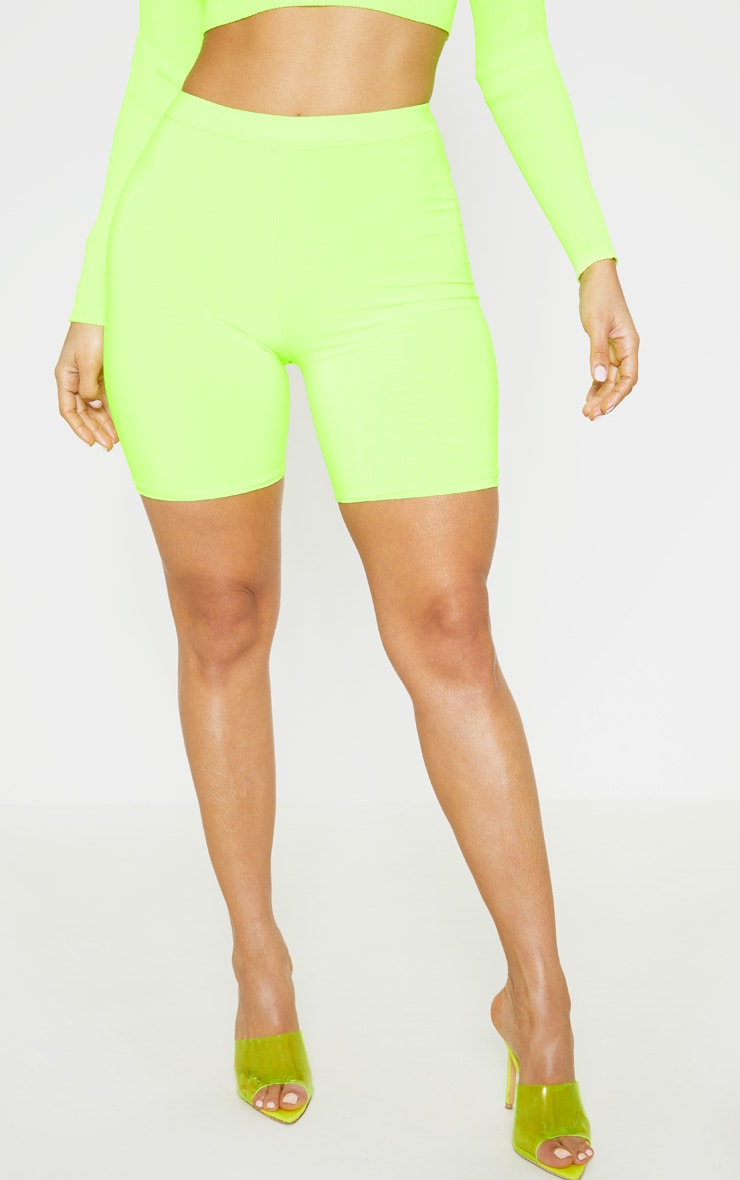 Neon Lime Slinky High Waisted Bike Shorts 2