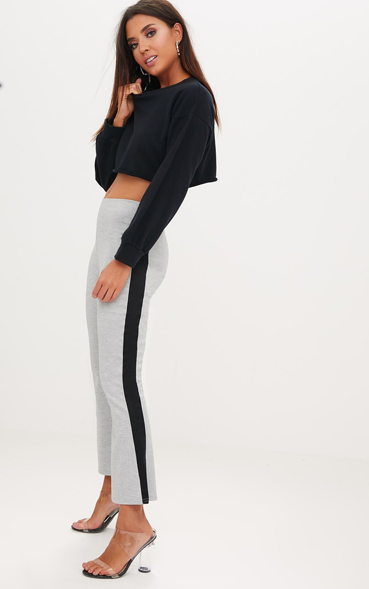 Grey Track Stripe Kick Flare Trousers 1