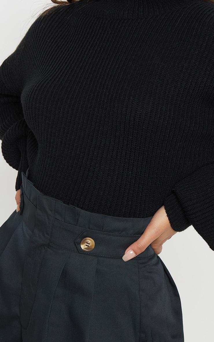 Black Button Detail Pleat Waist Short 6