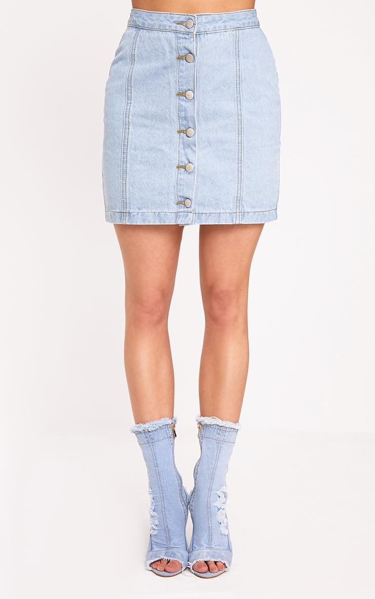Cammie Light Wash Mini Skirt 2