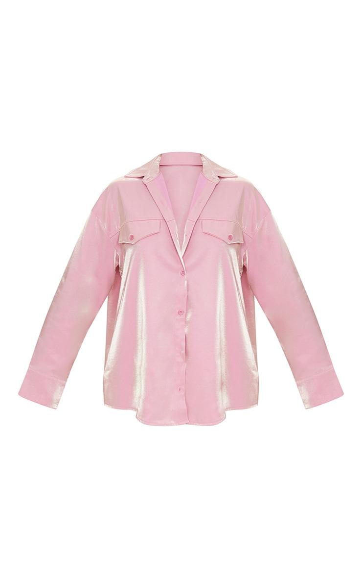Pink Premium Woven Metallic Oversized Shirt 5