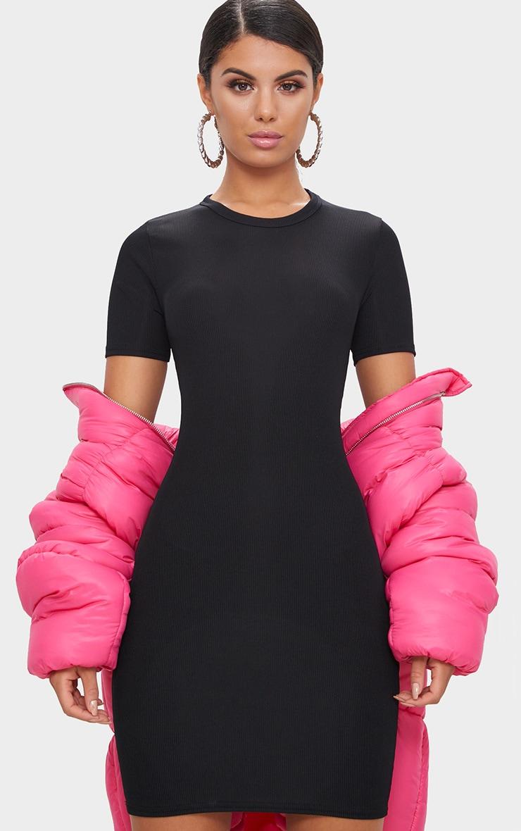 Basic Black Ribbed Short Sleeve Bodycon Dress