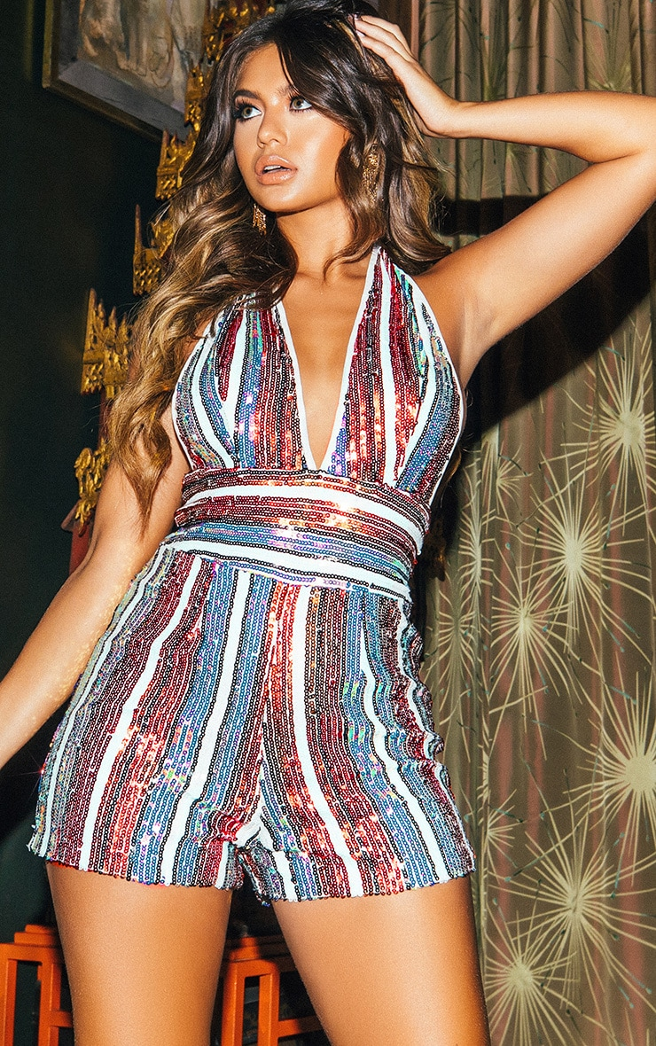 Multi Stripe Sequin Halterneck Playsuit 1