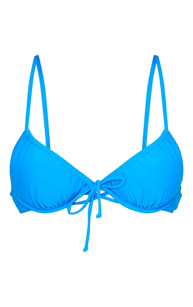 Blue Ruched Underwired Bikini Top 5