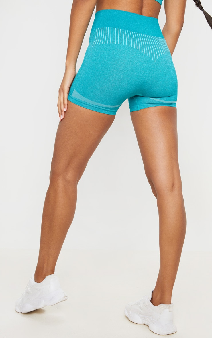 Turquoise Seamless Contour Booty Shorts 4