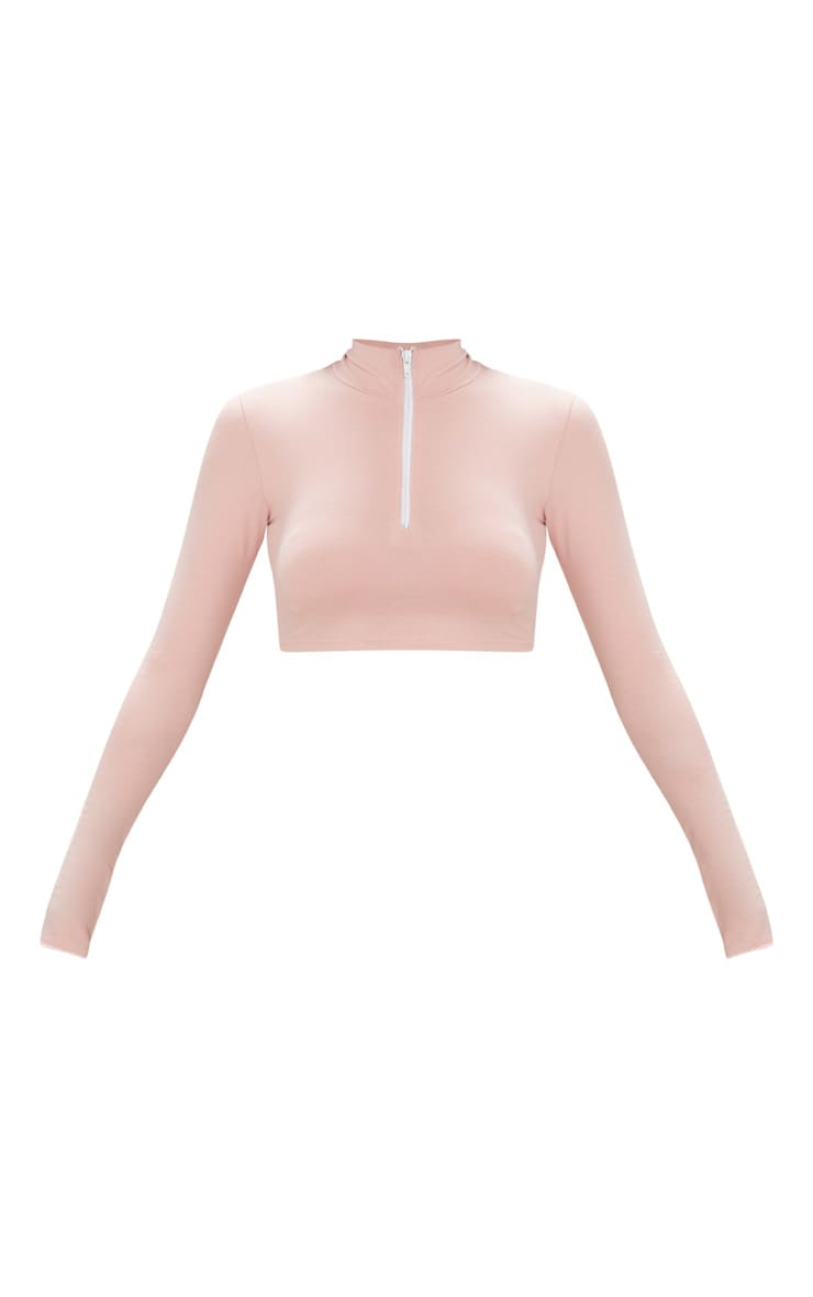 Pink Zip Front High Neck Long Sleeve Crop Top   3