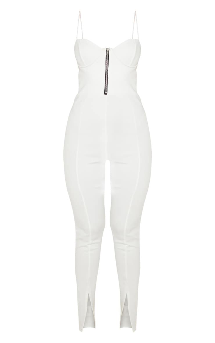 White Corset Zip Detail Split Hem Jumpsuit 3