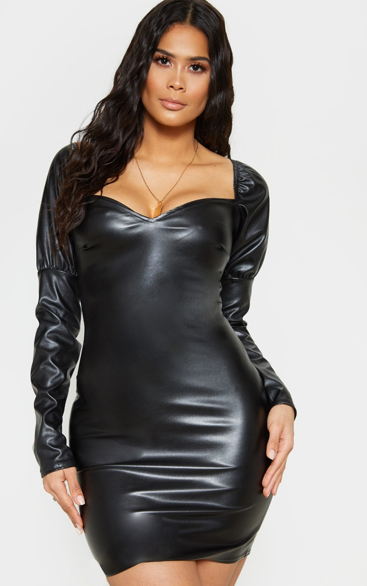Black Faux Leather Puff Shoulder Bodycon Dress 4