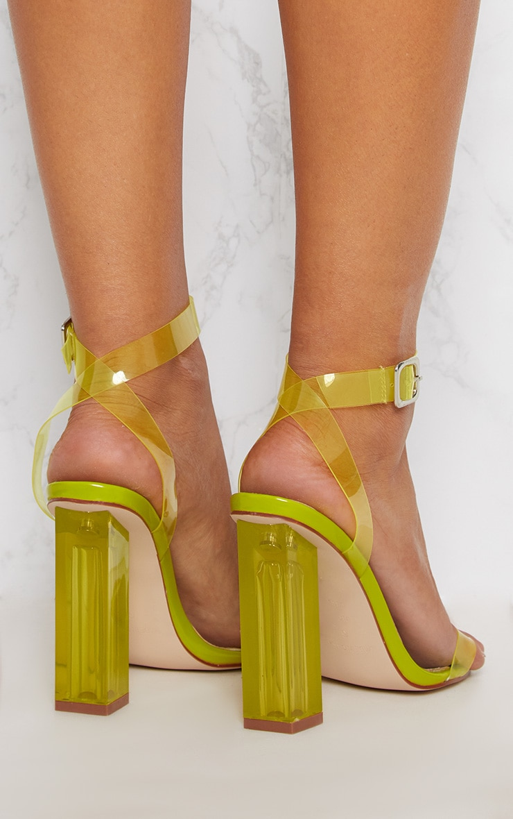 Lime Coloured Clear Strappy Heel 4