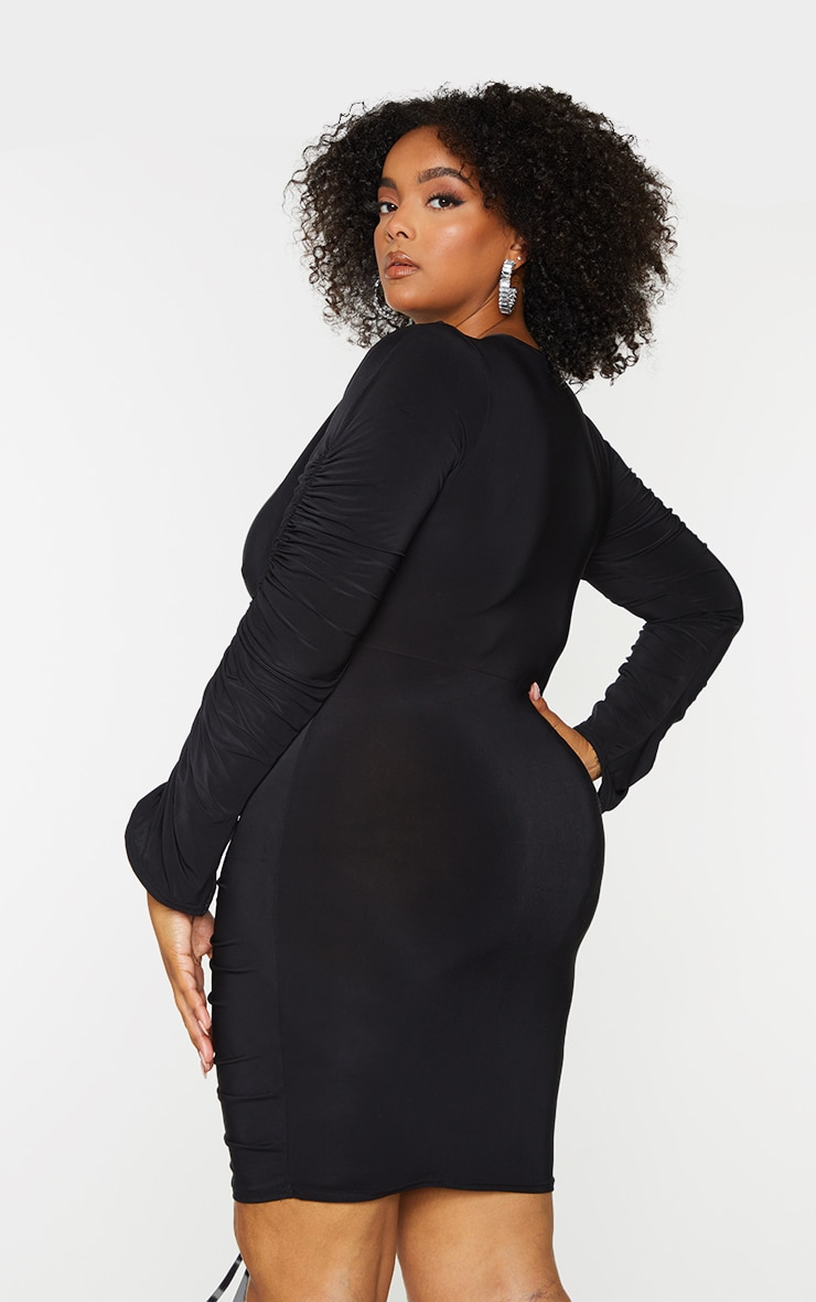 Plus Black Slinky Ruched Front Long Sleeve Dress 2