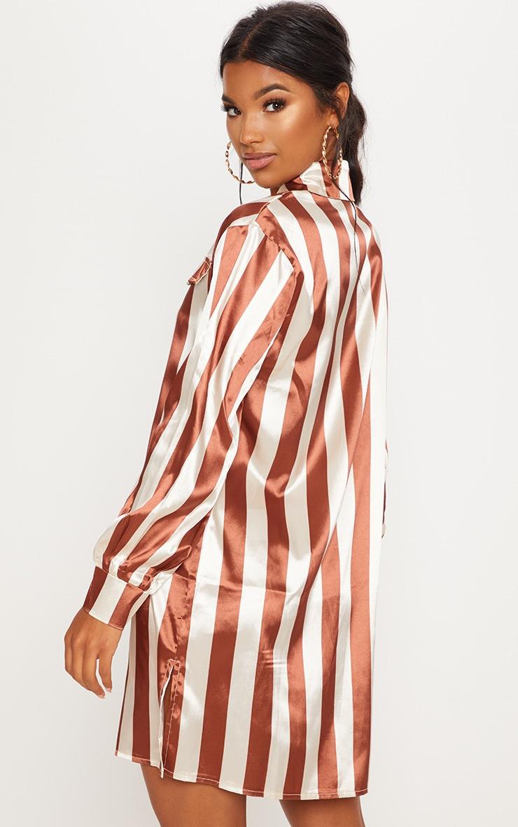 Brown Stripe Print Satin Shirt Dress 2