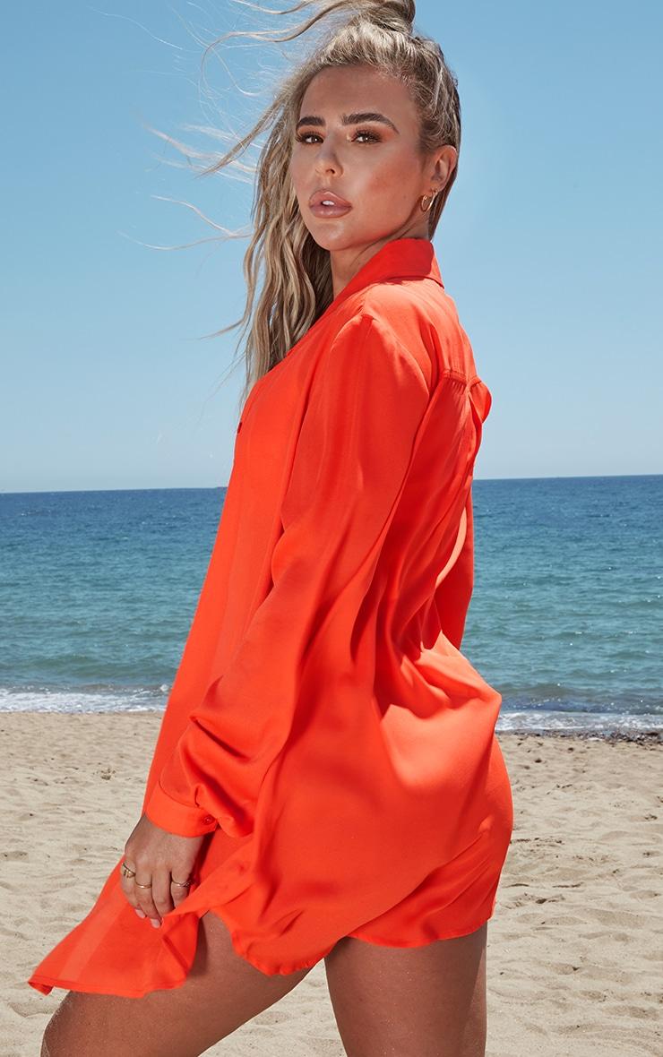 Neon Orange Oversized Beach Shirt 2