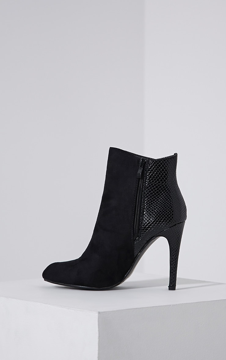 Neve Black Faux Suede Pointed Croc Heel Boots 4