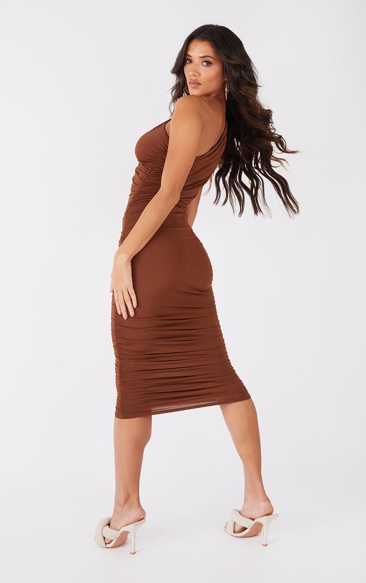 Petite Chocolate Slinky Ruched One Shoulder Longline Midi Dress 2