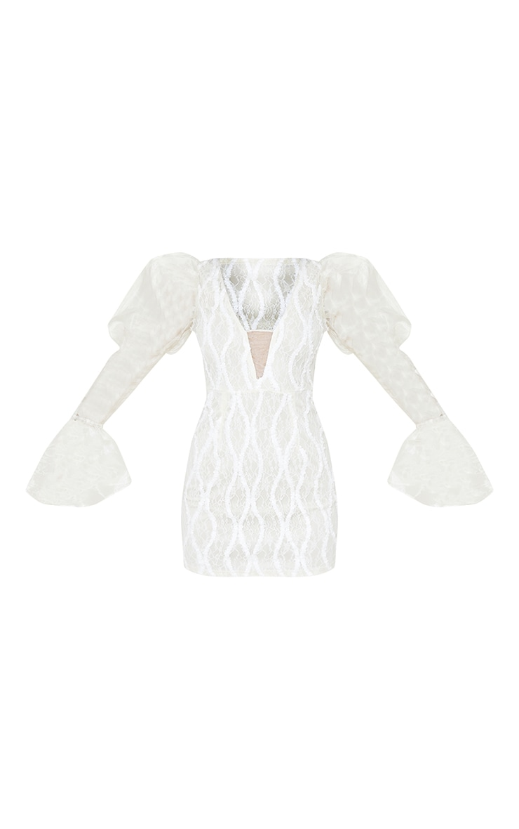 White Organza Sleeve Lace Bodycon Dress 5