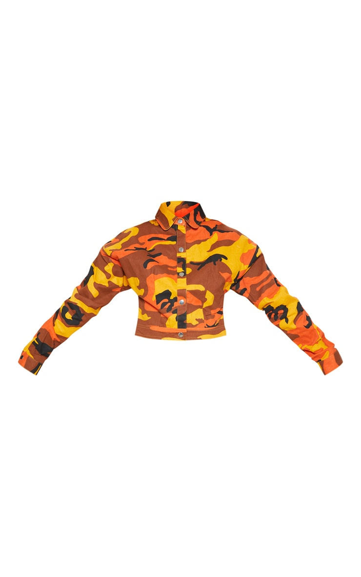 Petite Orange Cropped Camo Trucker Jacket 4