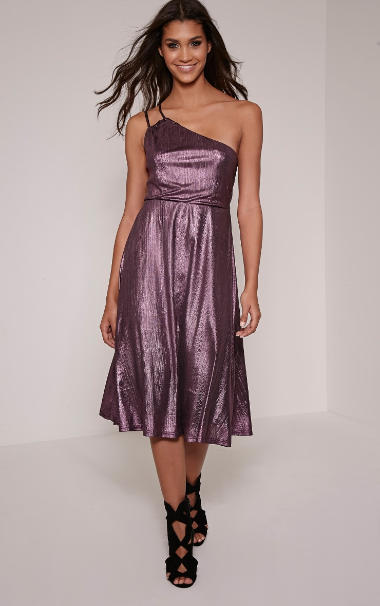 Stephy Purple Metallic Skater Dress 1