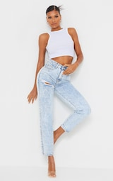 PRETTYLITTLETHING Acid Blue Wash Thigh Ripped Mom Jeans 1