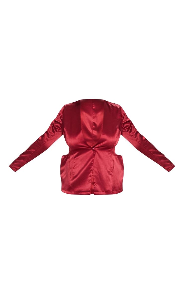 Plus Burgundy Satin Pocket Detail Blazer 3
