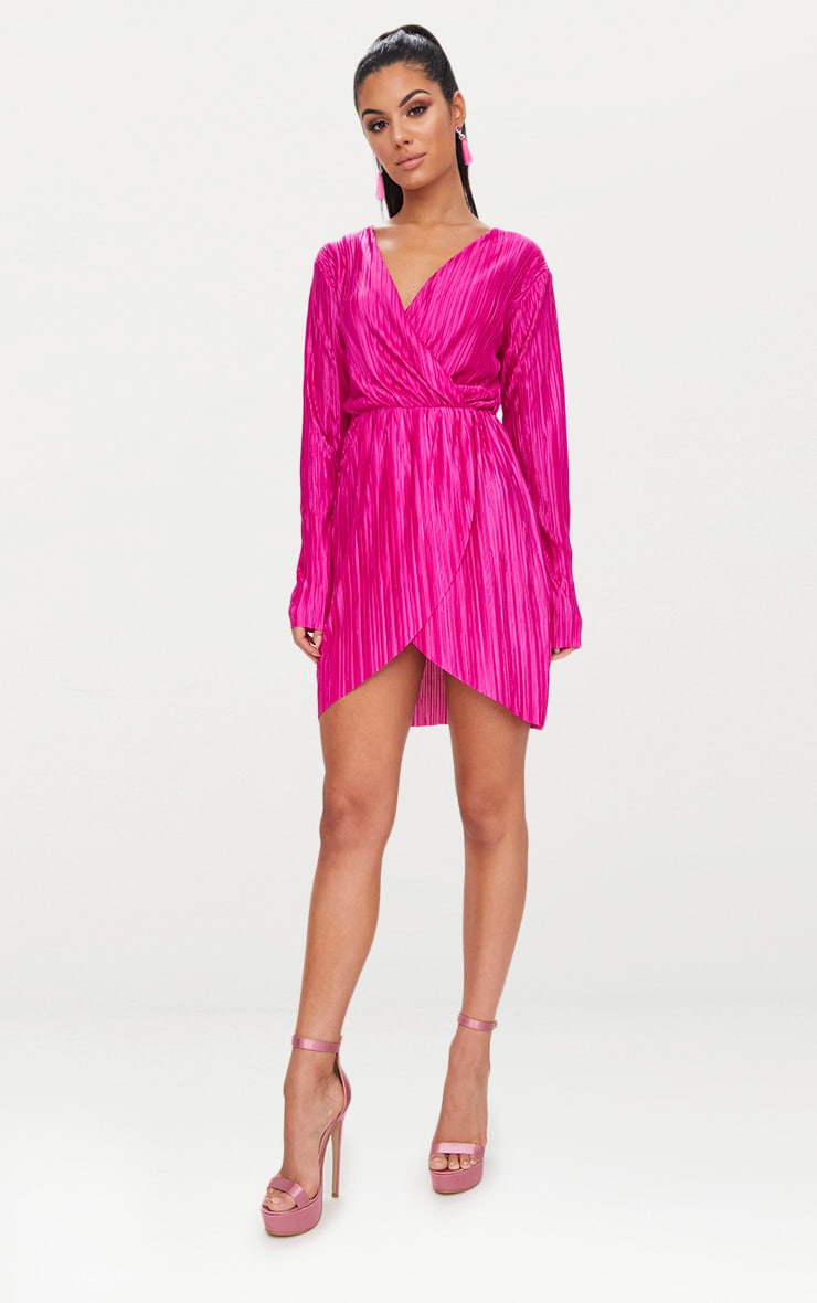 Hot Pink Long Sleeved Plunge Pleated Wrap Dress  4