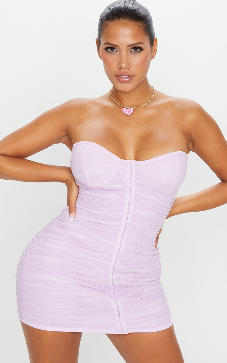 Shape Lilac Mesh Ruched Hook and Eye Bodycon Dress 1