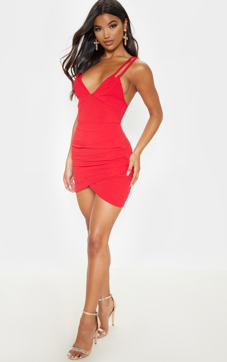 Red Double Strap Wrap Skirt Bodycon Dress 4