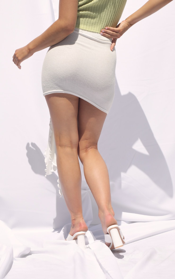 Cream Tie Detail Brushed Rib Mini Skirt 3