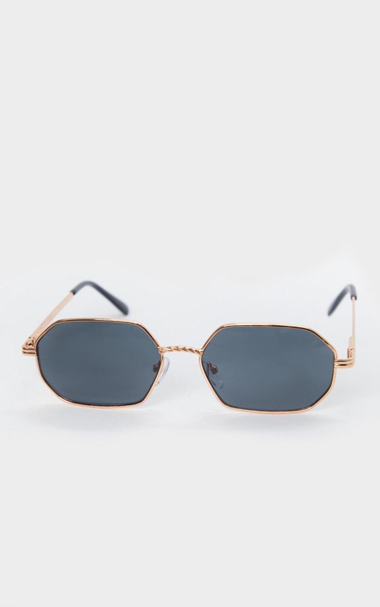 Gold Trim Rose Gold Lens Hexagon Sunglasses 3