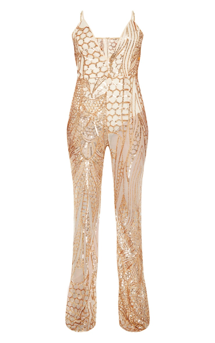 Gold Sequin Flared Leg Jumpsuit 3