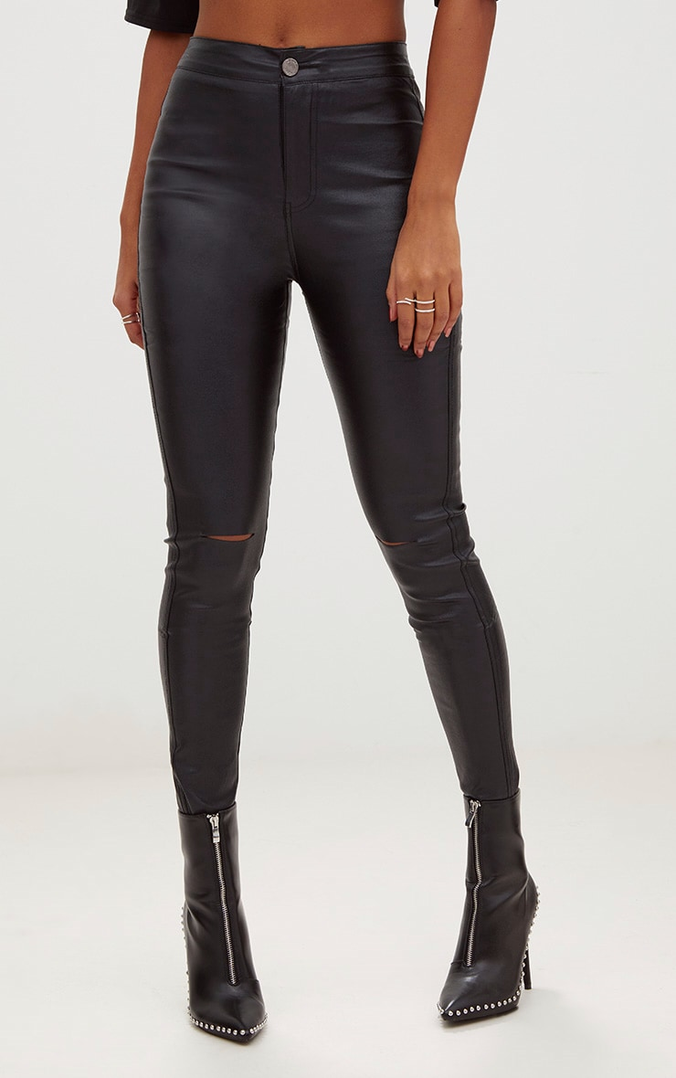 Black High Waisted Coated Skinny Jean 2