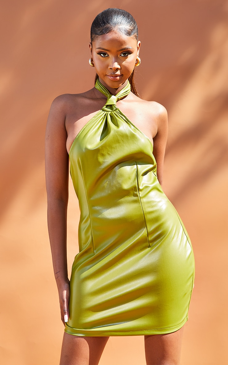 Olive Pu Halterneck Knotted Bodycon Dress 3