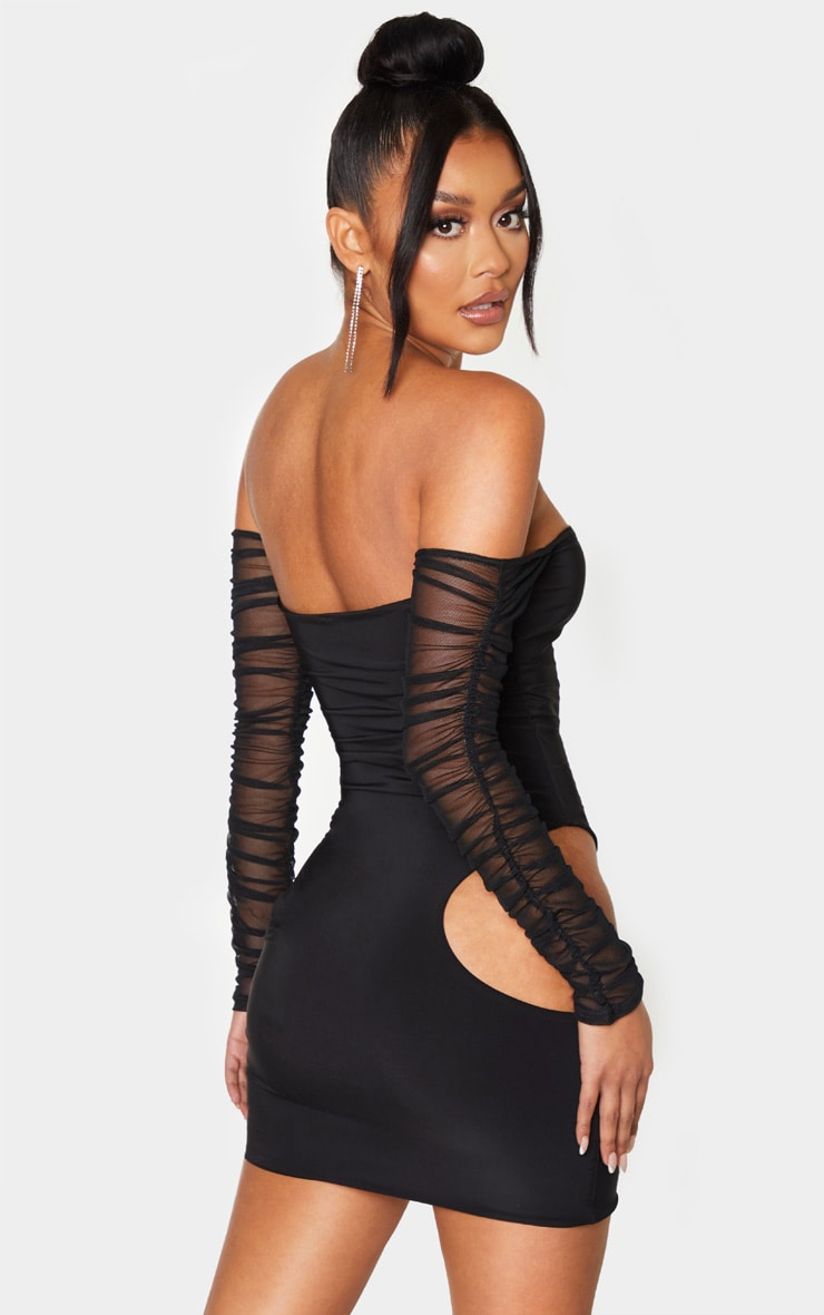 Black Slinky Extreme Cut Out Mesh Sleeve Bodycon Dress 2