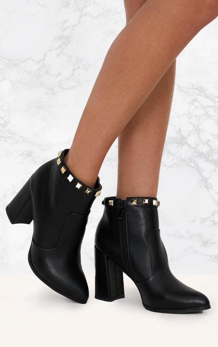 Black Pyramid Studded Block Heel Ankle Boot 1