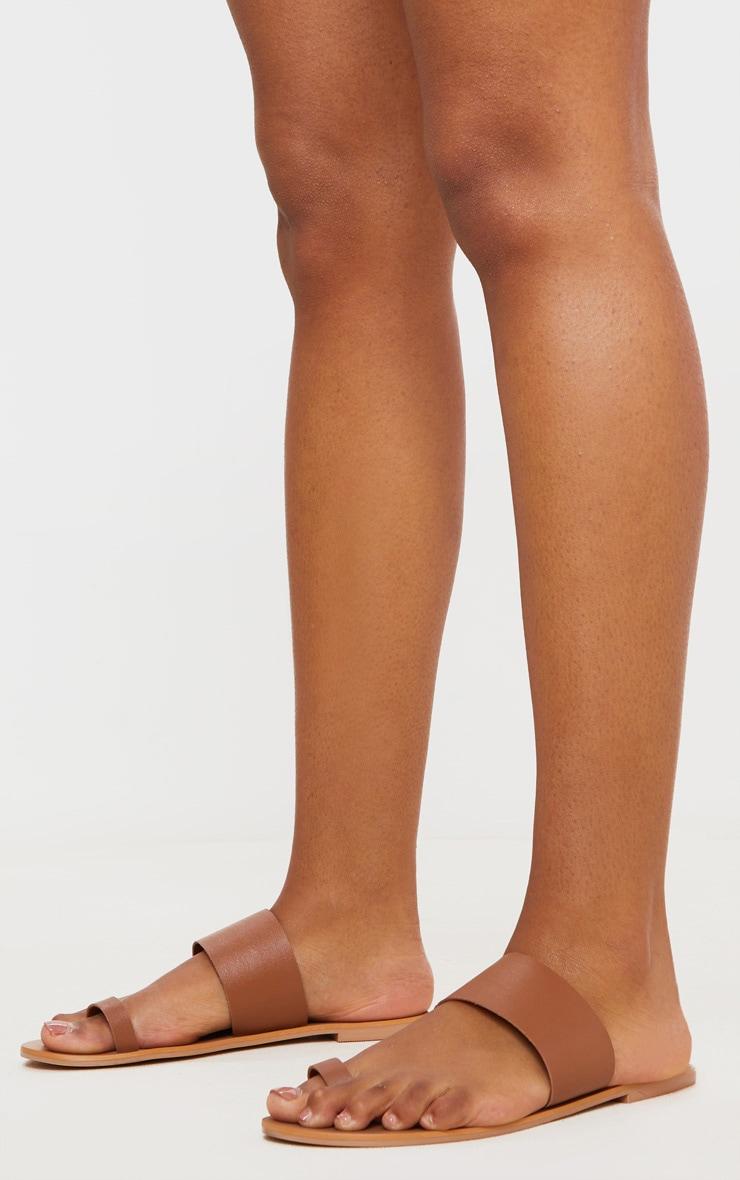 Tan Toe Loop Single Leather Strap Mule Sandal 2