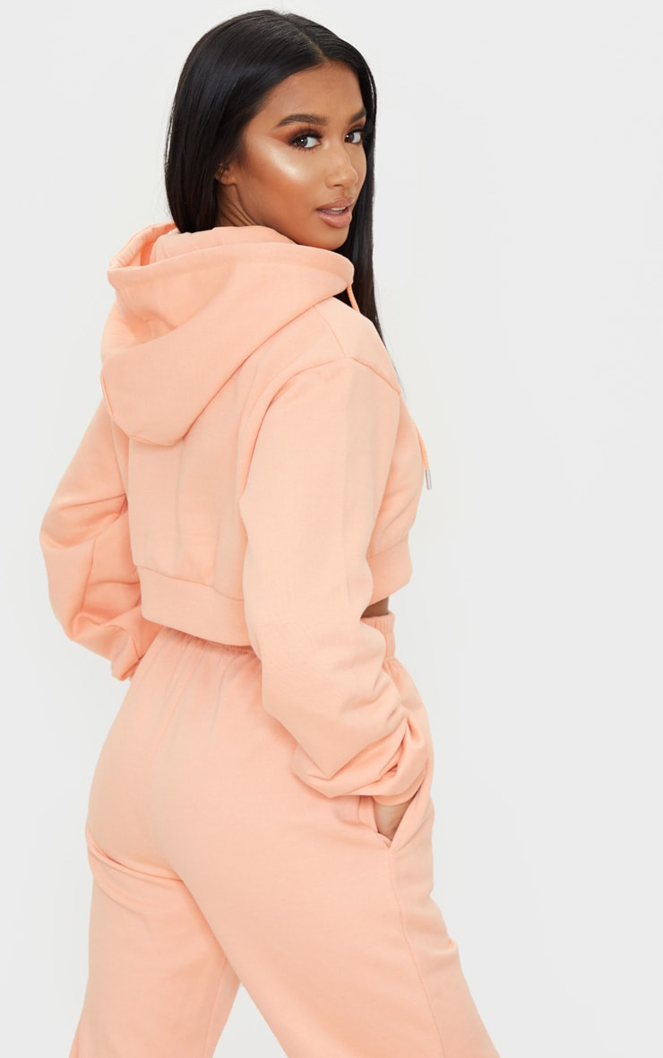 PRETTYLITTLETHING Petite Peach Cropped Embroidered Zip Hoodie 2