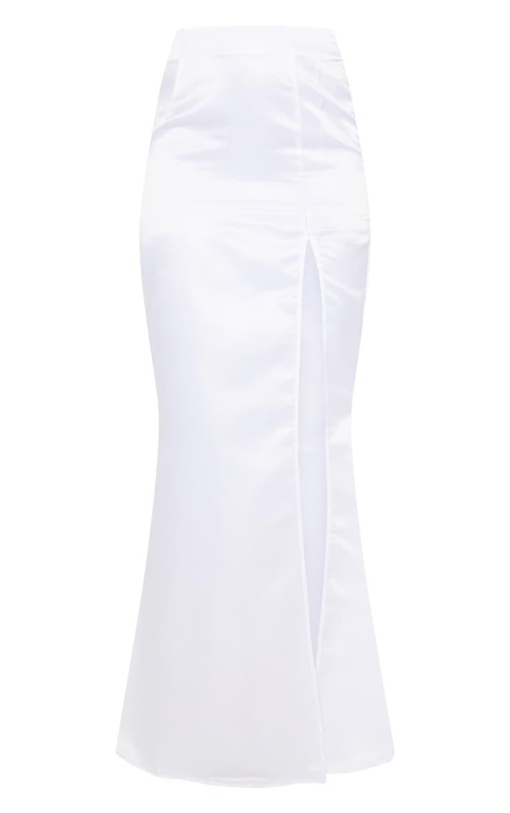 White Woven Split Front Maxi Skirt 3