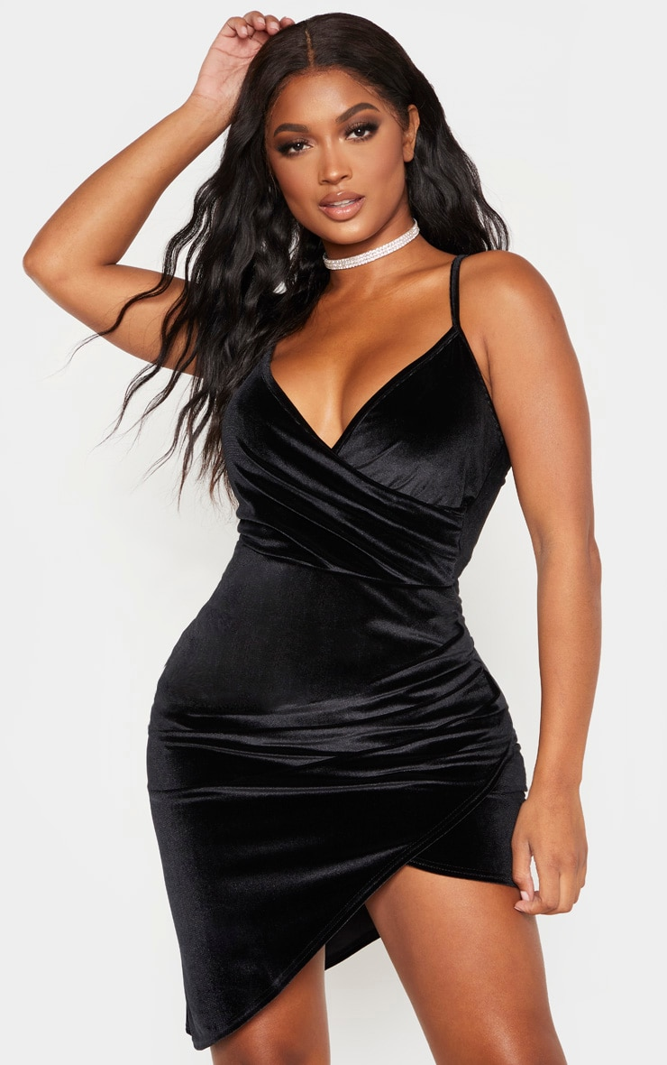 Shape Black Velvet Strappy Wrap Bodycon Dress 1