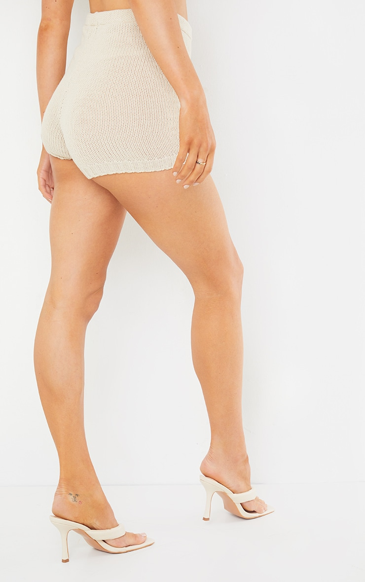 Cream Knitted High Waisted Shorts 4