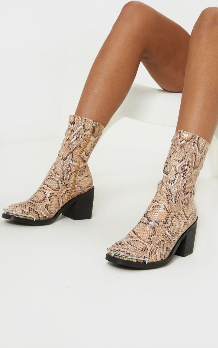 Snake Metal Detail Sock Boot 1