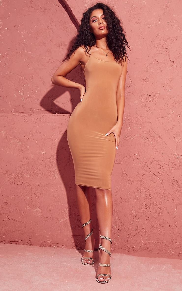 Camel Slinky Spaghetti Strap Midi Dress 1