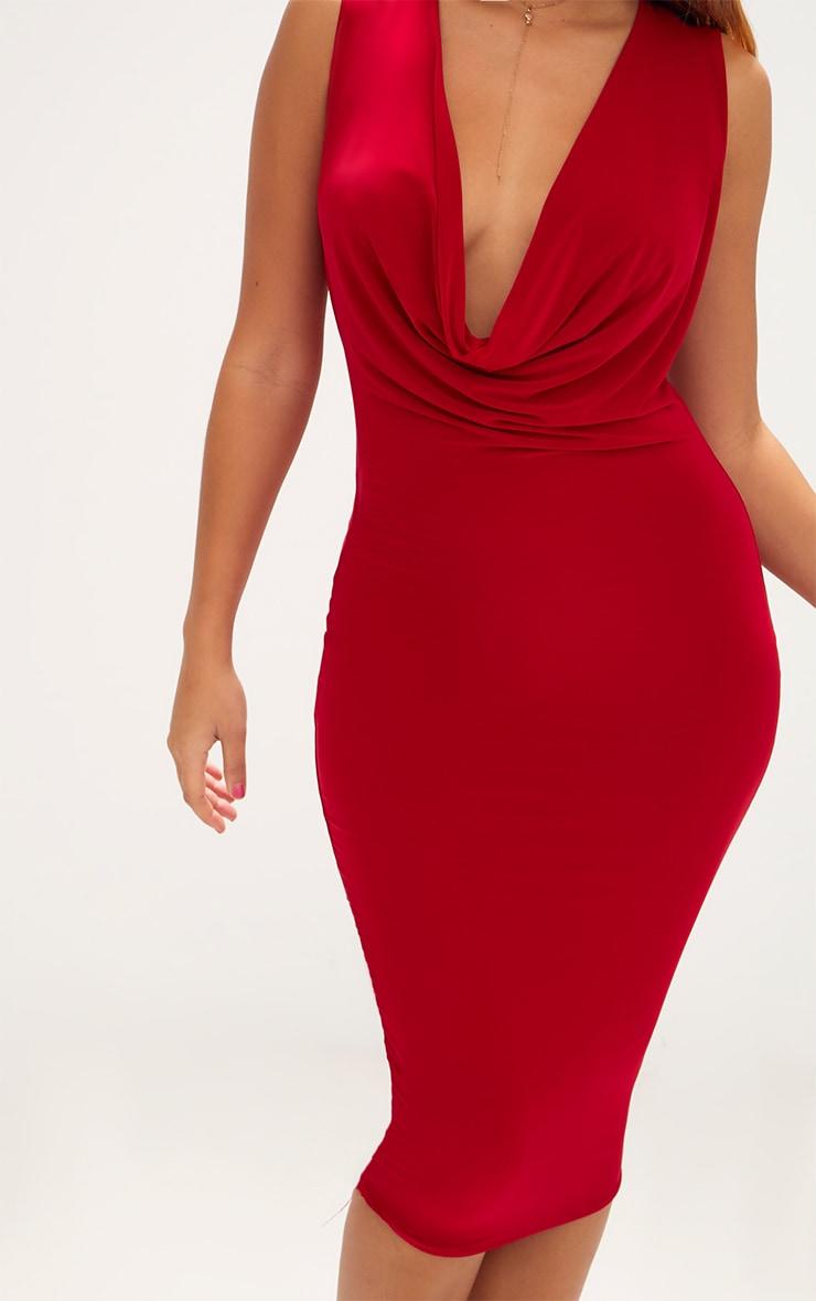Red Slinky Cowl Neck Midi Dress 5